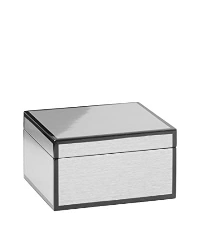 Torre & Tagus Lacquered Silver Grain-Lined Box, Small