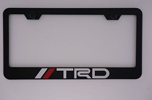 TRD Black License Plate Frame with Caps (Black Trd License Plate Frame compare prices)