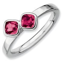 0.74ct Silver Stackable Db Cushion Cut Ruby Ring Band. Sizes 5-10