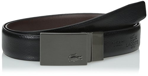 Lacoste Men's Classic Premium Reversible Leather Belt with Gun Metal Plate Buckle, Black/Brown, 43 (Lacoste Belts compare prices)