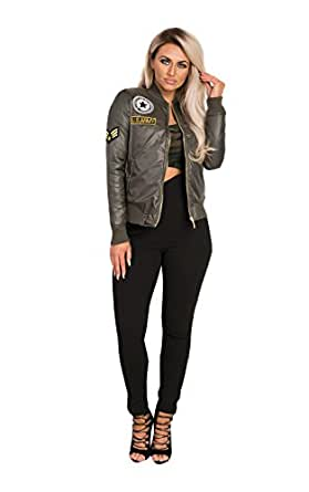 Casual Patched Army Bomber Jacket at Amazon Women's Clothing store