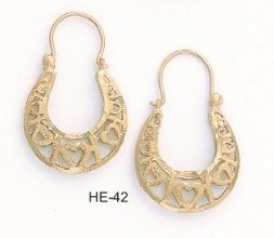 "Fabulous Layered Gold Filigree Heart Hoops ""Lifetime Guarantee"""
