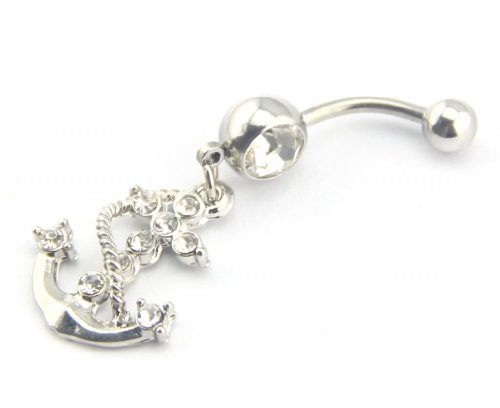 Baqi 14G Seaman Anchor Cross Dangle Belly Navel Bar Ring Body Jewelry Clear