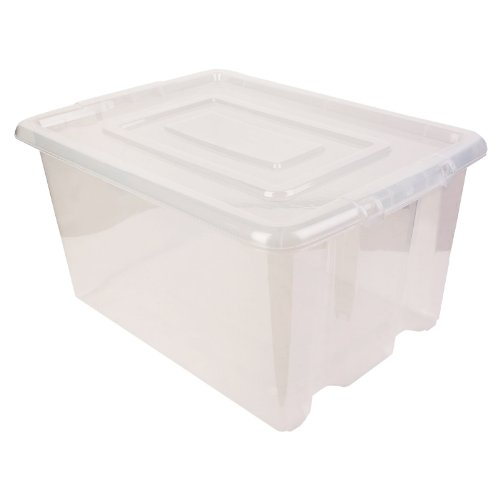 New Whitefurze Clear Plastic Stackable Container Small Storage Box With Lid 14l