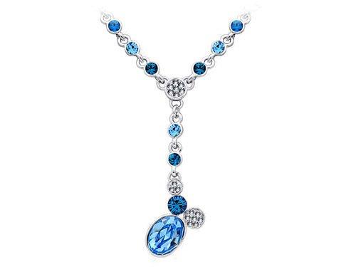 Sapphire Blue Clear Swarovski Crystal Dangle Drop Chain Scarf Jewelry Necklace