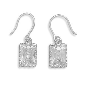8x6mm Rectangle CZ/Crown Edge French Wire Earrings