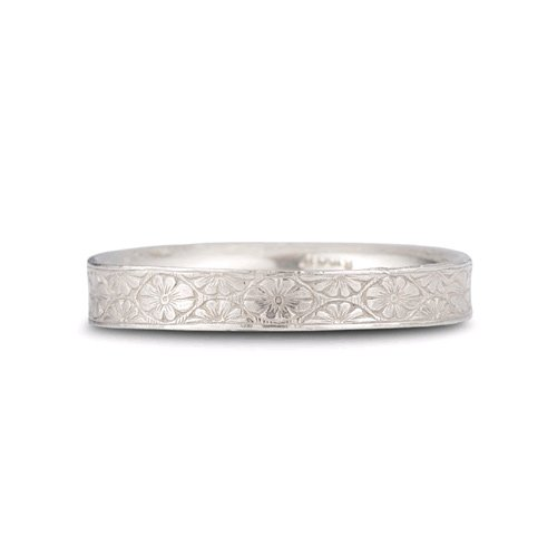 Handmade Floral Wedding Band in .925 Sterling Silver