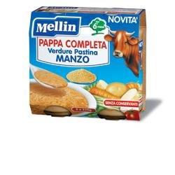 Mellin Pappa Completa al Manzo per Bambini, 6+ Mesi - 2 Vasetti da 250 gr - Totale 500 gr