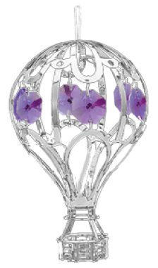 Chrome Hot Air Balloon Ornament – Purple Color Swarovski Crystal