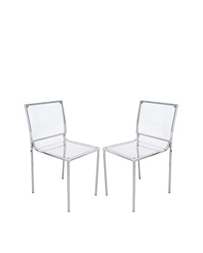 LeisureMod Set of 2 Almeda Acrylic Transparent Dining Chairs, Clear