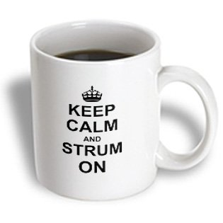 3Drose Mug_157774_2 Keep Calm And Strum On Carry On Guitar Strumming Guitarist Musician Gifts Fun Funny Humor Ceramic Mug, 15-Ounce