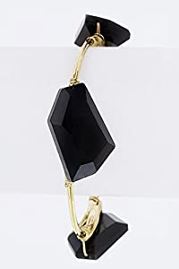 Chic Chelsea Angular Crystals Wire Station Bangle (Black)