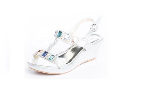 Ragazze Nero Argento Sparkle gemma diamante Zeppa damigella matrimonio partito estate sandali, Argento