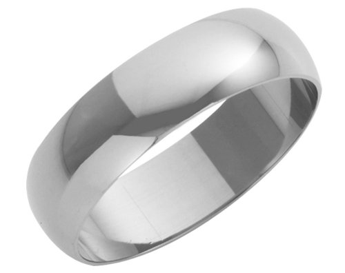 Wedding Ring, 9 Carat White Gold Heavy D Shape, 6mm Band Width