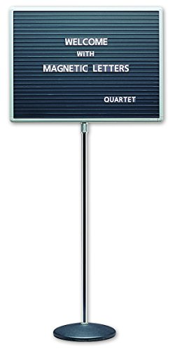Quartet Adjustable Single Pedestal Letter Boards, 2 x 1.5 Feet, Magnetic, Black (7921M) (Pedestal Letter Board compare prices)