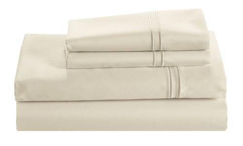 Cuddledown 400 Thread Count Sateen Flat Sheet, King, Ivory front-1012977