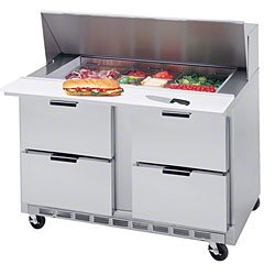 "Beverage Air Sped48-18M-4 48€ Mega Top Sandwich/Salad Prep Table W/ Drawers €"" Elite Series"