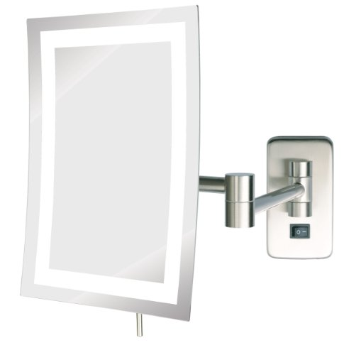 Jerdon Jrt710Nld 6.5-Inch By 9-Inch Led Lighted Wall Mount Rectangular Direct Wire Makeup Mirror, Nickel Finish