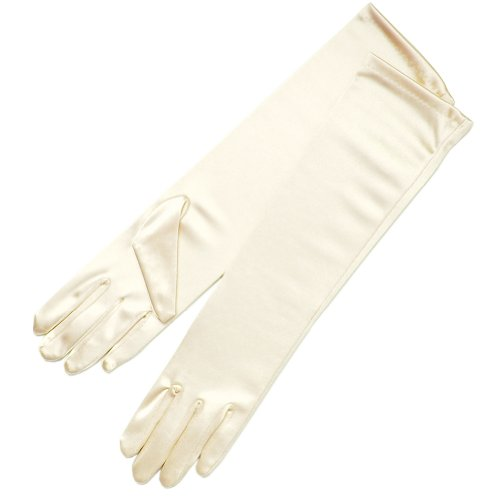 ZaZa Bridal Shiny Stretch Satin Dress Gloves Below-The-Elbow Length 8BL-Ivory