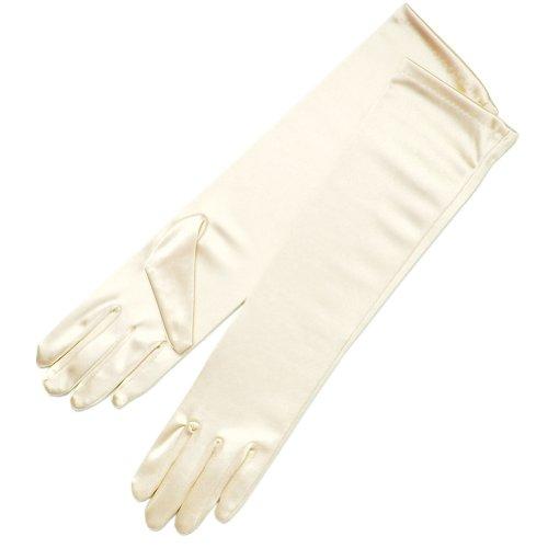 ZaZa Bridal Shiny Stretch Satin Dress Gloves Below-The-Elbow Length 8BL-Ivory