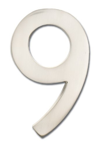 Architectural Mailboxes 3582SN-9 Brass 4-Inch Floating House Number, Satin Nickel 9 Color: silver Size: 9, Model: 3582SN-9