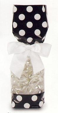 Black with White Polka Dots Tall Cellophane Goodie Bag (3in. W x 10 3/4in. H x 1 7/8in. Deep) - pack of 10