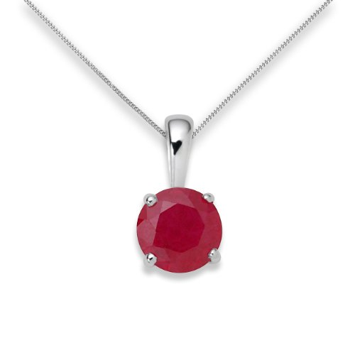 Ruby Necklace, 9ct White Gold, Created Ruby Pendant, 45cm Chain, by Miore, UNI001P1W