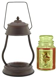 Hurricane Rustic Brown Candle Warmer Gift Set - Warmer + Courtneys 26 oz Jar Candle - ICING ON THE CAKE