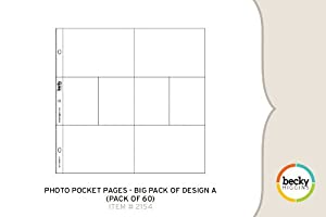 Becky Higgins Photo Pocket Pages - Big Pack of Design A (60 Pages)