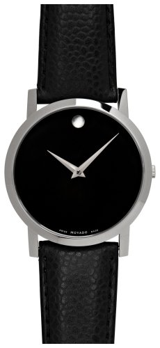 Movado Men&#8217;s 606085 Museum Black Leather Strap Watch
