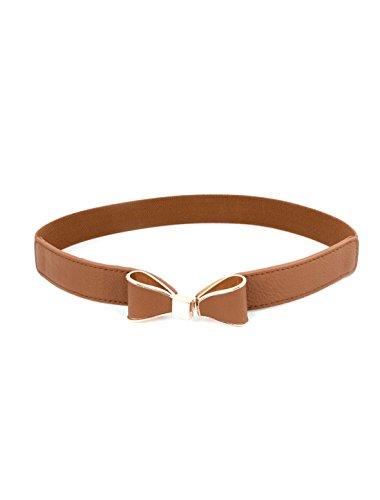 Lady Faux Leather Bow Tie Shaped Buckle Elastic Waist Cinch Belt Band