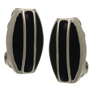 Imilia Silver Plated Black Clip On Earrings by Rodney