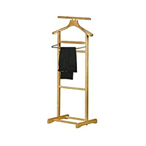 RUBBER Wood AND S/S Clothes Stand / Valet Rack / Coat Hanging Rail