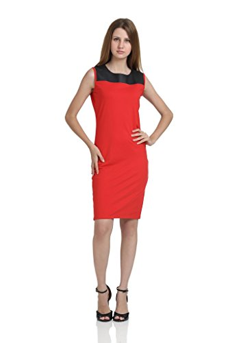 JAMES-SCOT-Women-Round-Neck-Sleeveless-Solid-Red-Colour-Bodycon-Dress