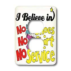 Dooni Designs I Believe In Designs - I Believe In No Shoes Shirt No Service - Light Switch Covers - 2 plug outlet cover