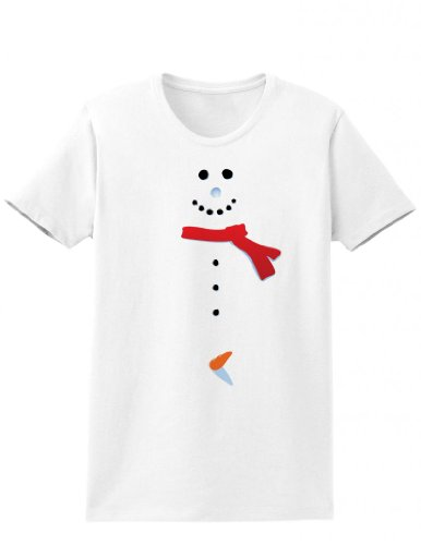 Excited Snowman - Ugly Christmas Sweater Inspired Naughty Funny Adult Womens T-Shirt - White - Medium