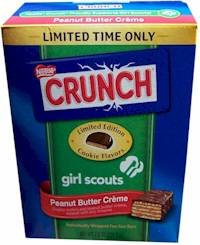 Nestle Crunch Girl Scouts Peanut Butter Creme Limited Edition Cookie Flavors Fun Size Bars (Chocolate Covered Cookie Wafers and Peanut Butter Creme with Airy Crispies)