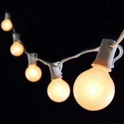 Outdoor string lights with white wire style pixelmari model 25 crystal clear globe bulbs on a 24 foot black wire suitable for indoor and outdoor use exposed filaments add workwithnaturefo