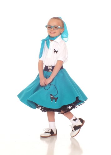 Hip Hop 50S Shop 4 Piece Child Poodle Skirt Outfit - Size Small Child Teal