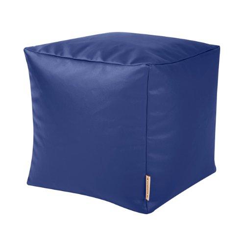 CUBE Bean Bag Faux Leather BLUE - Beanbag Footstool by Bean Bag Bazaar®