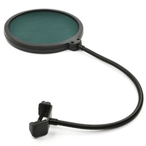 Bluecell 6 Inch Studio Microphone Mic Round Shape Wind Pop Filter Mask Shield Stand Clip(Green Filter)