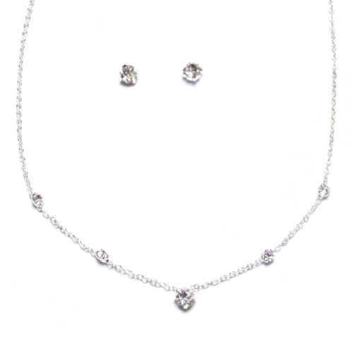 Simple Dainty Diamante Crystal Necklace an Earring Set
