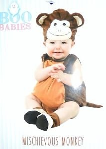 Boo Babies Halloween Costume Mischievous Monkey Brown Sz 0-9 Months 4 Pieces - 1