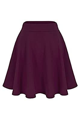 Dani's Choice Basic Solid Stretchy Cotton High Waist A-line Flared Skater Mini Skirt