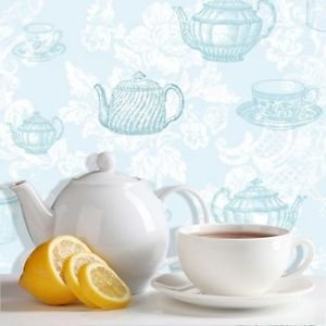 Coloroll Teacups Wallpaper - Duck Egg by New A-Brend