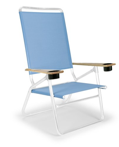 Telescope Casual Light And Easy High Boy Folding Beach Arm Chair With Cup Holders, Sky With Gloss White Frame