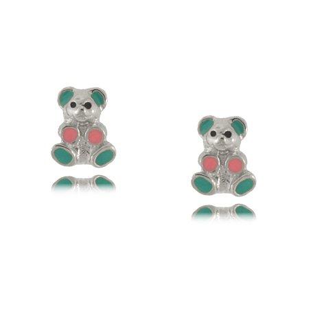 Enameled Teddy Bear Baby Earrings in Sterling Silver