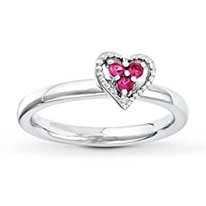 amazon   stackable heart ring lab created ruby sterling