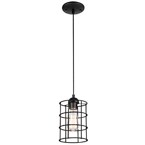 Westinghouse 6100600 Industrial One-Light Adjustable Mini Pendant with Metal Cage Shade, Oil Rubbed Bronze Finish