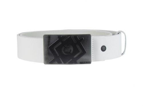 Ledergürtel - mit Metallschnalle - weiß Größe 105 cm
